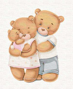 """Komplekts krāsošanai glezna pēc numuriem. """"Laimīga lāču ģimene"""" 30 * 30cm"""